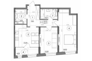ЖК Svitlo Park: планировка 2-комнатной квартиры 66.37 м²