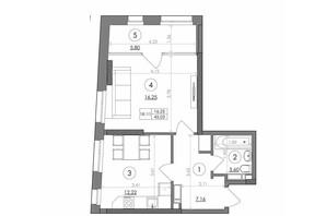 ЖК Svitlo Park: планування 1-кімнатної квартири 45.03 м²