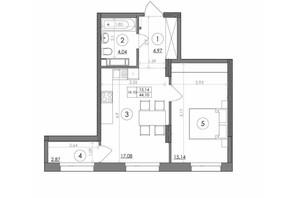 ЖК Svitlo Park: планування 1-кімнатної квартири 44.1 м²