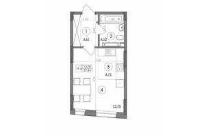 ЖК Svitlo Park: планування 1-кімнатної квартири 27.24 м²