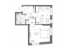 ЖК Svitlo Park: планування 1-кімнатної квартири 35.47 м²