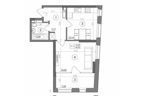 ЖК Svitlo Park: планування 1-кімнатної квартири 46.35 м²