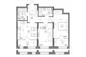 ЖК Svitlo Park: планування 2-кімнатної квартири 68.35 м²