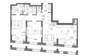 ЖК Svitlo Park: планування 2-кімнатної квартири 69.61 м²
