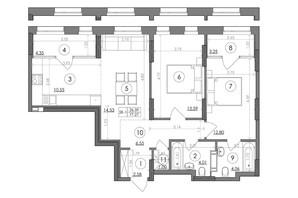 ЖК Svitlo Park: планування 2-кімнатної квартири 77.27 м²