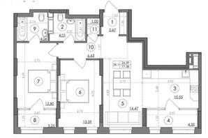 ЖК Svitlo Park: планування 2-кімнатної квартири 77.38 м²