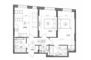ЖК Svitlo Park: планування 2-кімнатної квартири 67.11 м²