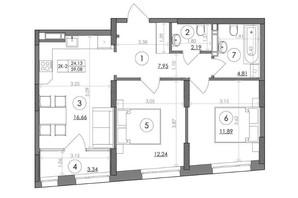 ЖК Svitlo Park: планування 2-кімнатної квартири 59.08 м²