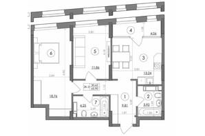 ЖК Svitlo Park: планування 2-кімнатної квартири 65.9 м²