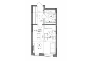 ЖК Svitlo Park: планування 1-кімнатної квартири 28.49 м²