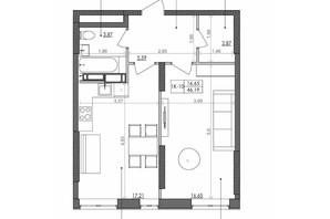 ЖК Svitlo Park (Свитло Парк): планировка 1-комнатной квартиры 46.19 м²
