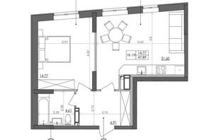 ЖК Svitlo Park (Свитло Парк): планировка 1-комнатной квартиры 47.89 м²