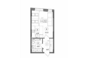 ЖК Svitlo Park (Свитло Парк): планировка 1-комнатной квартиры 27.24 м²
