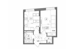 ЖК Svitlo Park (Свитло Парк): планировка 1-комнатной квартиры 35.97 м²