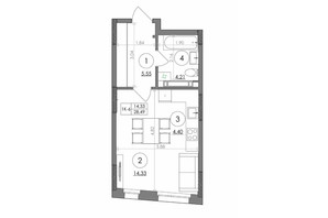 ЖК Svitlo Park (Свитло Парк): планировка 1-комнатной квартиры 28.49 м²