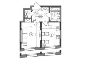 ЖК Svitlo Park (Свитло Парк): планировка 1-комнатной квартиры 36.04 м²