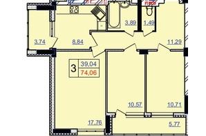 ЖК Свобода: планування 2-кімнатної квартири 74 м²