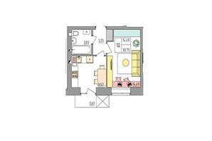ЖК Синергія Color: планування 1-кімнатної квартири 30.75 м²