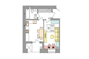 ЖК Синергія Color: планування 1-кімнатної квартири 35.54 м²