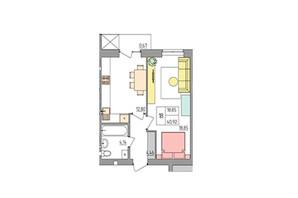 ЖК Синергія Color: планування 1-кімнатної квартири 40.92 м²