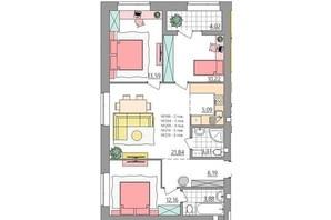 ЖК Синергія Glass: планування 3-кімнатної квартири 80.25 м²