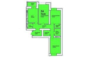 ЖК Синергія Сіті: планування 3-кімнатної квартири 80.2 м²
