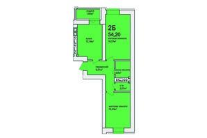 ЖК Синергія Сіті: планування 2-кімнатної квартири 73.9 м²