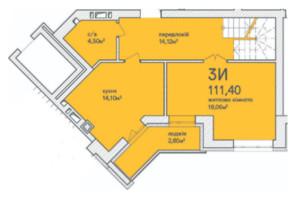 ЖК Синергія Сіті: планування 3-кімнатної квартири 115.9 м²