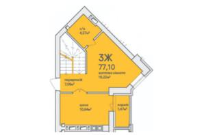 ЖК Синергія Сіті: планування 3-кімнатної квартири 77.1 м²