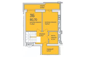 ЖК Синергія Сіті: планування 3-кімнатної квартири 80.7 м²