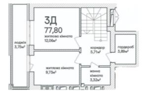 ЖК Синергія Сіті: планування 3-кімнатної квартири 77.8 м²