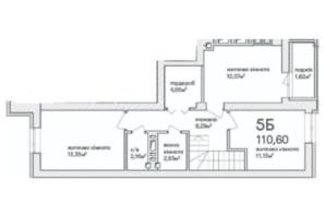 ЖК Синергія Сіті: планування 5-кімнатної квартири 116.1 м²