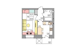 ЖК Синергия Color: планировка 1-комнатной квартиры 30.12 м²