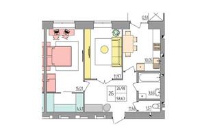 ЖК Синергия Color: планировка 2-комнатной квартиры 58.63 м²