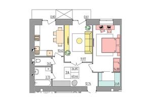 ЖК Синергия Color: планировка 2-комнатной квартиры 60.46 м²