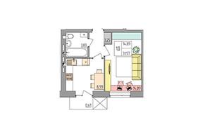 ЖК Синергия Color: планировка 1-комнатной квартиры 31.57 м²