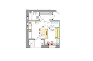 ЖК Синергия Color: планировка 1-комнатной квартиры 35.94 м²