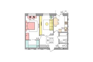 ЖК Синергия Color: планировка 2-комнатной квартиры 60.95 м²