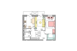 ЖК Синергия Color: планировка 2-комнатной квартиры 62.82 м²