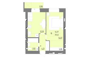 ЖК Синергия Color: планировка 1-комнатной квартиры 39.63 м²