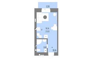 ЖК Синергия Color: планировка 1-комнатной квартиры 23.91 м²