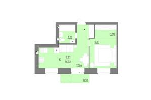 ЖК Синергия Color: планировка 1-комнатной квартиры 36.02 м²