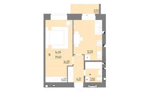 ЖК Синергия Color: планировка 1-комнатной квартиры 39.6 м²