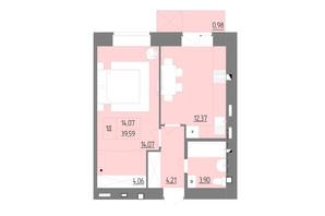 ЖК Синергия Color: планировка 1-комнатной квартиры 39.59 м²