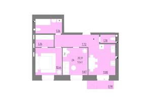 ЖК Синергия Color: планировка 2-комнатной квартиры 51.41 м²