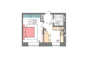 ЖК Синергия Glass: планировка 1-комнатной квартиры 34.43 м²