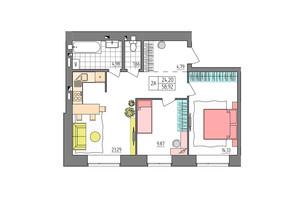 ЖК Синергия Glass: планировка 2-комнатной квартиры 58.92 м²