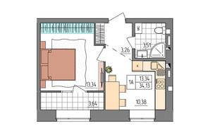 ЖК Синергия Glass: планировка 1-комнатной квартиры 34.13 м²
