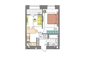 ЖК Синергия Glass: планировка 1-комнатной квартиры 37.48 м²