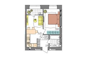 ЖК Синергия Glass: планировка 1-комнатной квартиры 37.38 м²
